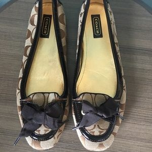 Coach Tipper Brown Signature Flats Size 9